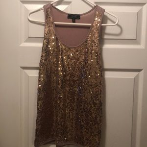 Gold sequence layering tank top